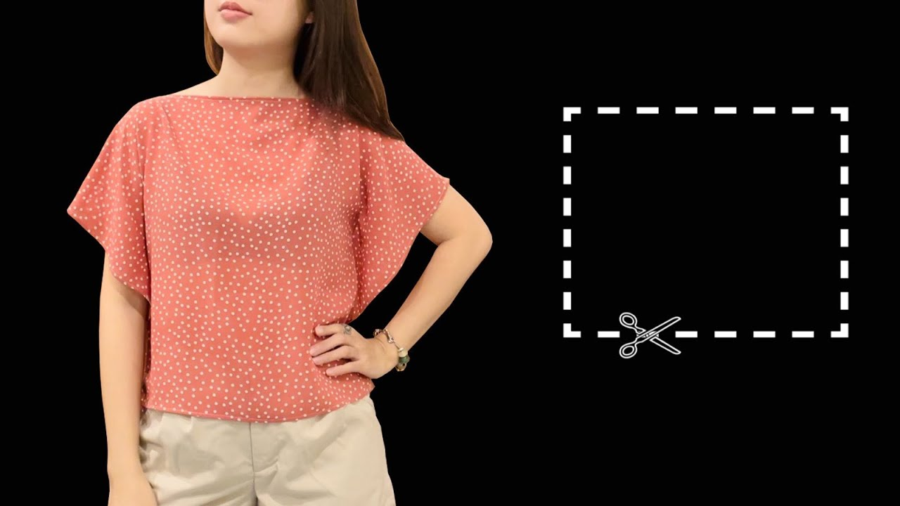 New design ⭐️ Rectangle blouse cutting and sewing | easy DIY crop-top for beginners