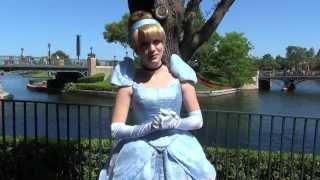 Cinderella Surprise Meet & Greet at Epcot, Shows off Her Glass Slippers & Talks About Mowgli, Merida