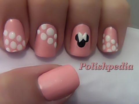 Minnie Mouse Nail Art - Minnie Mouse Nail Art - YouTube