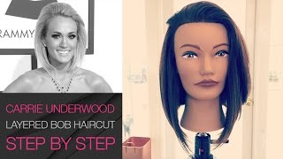 How To Cut Carrie Underwood Long Layered Bob Haircut   Grammy AWARDS 2016