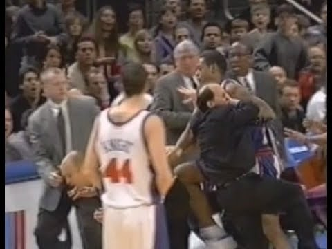 Marcus Camby Headbutts Jeff Van Gundy