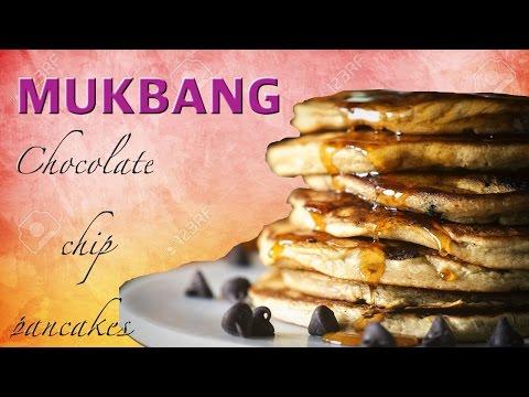 Mukbang   Chocolate Chip Pancakes   Ep:761
