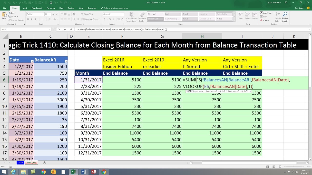 Excel Magic Trick 1410: Calculate Closing Balance for Each Month from Balance Transaction Table