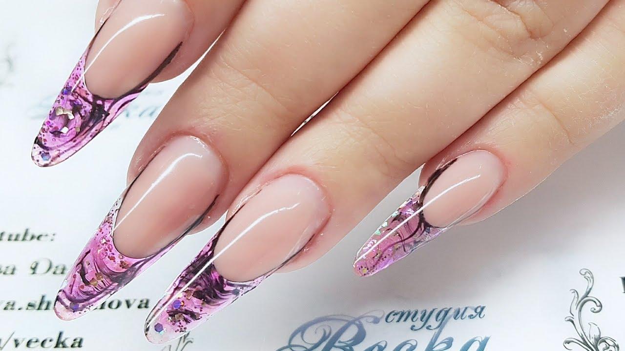 Aquarium design of nails. French nails