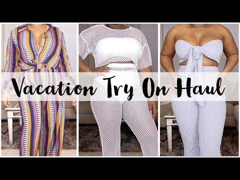 VACAY TRY ON CLOTHING HAUL! + PRETTY LITTLE THING HAUL! SWIMWEAR, DRESSES, COORD SETS