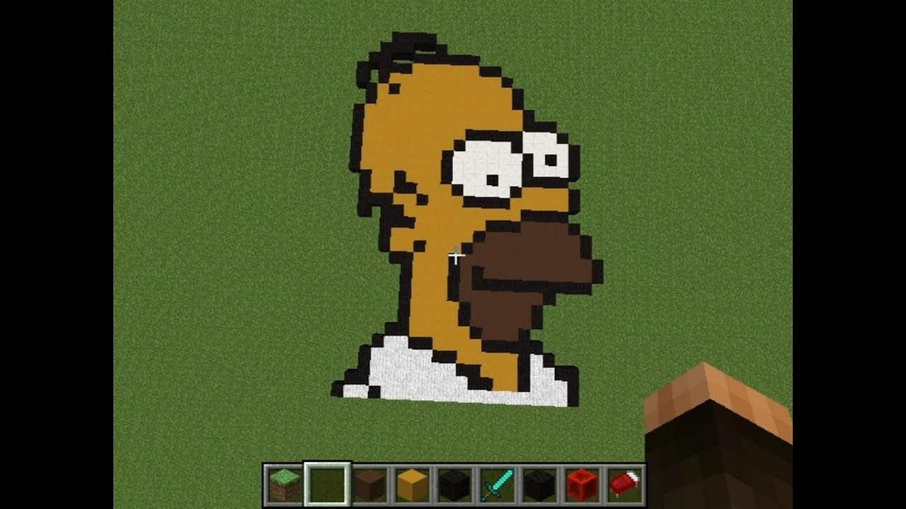 Homer Simpson   Minecraft Pixel Art Creative Builds #7 (Every Simpsons Ever  FXX Tribute)