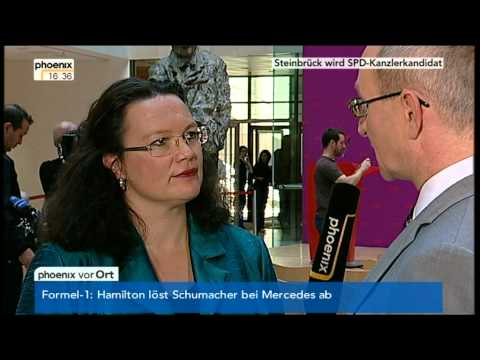 Andrea Nahles im PHOENIX Interview über Peer Steinbrück