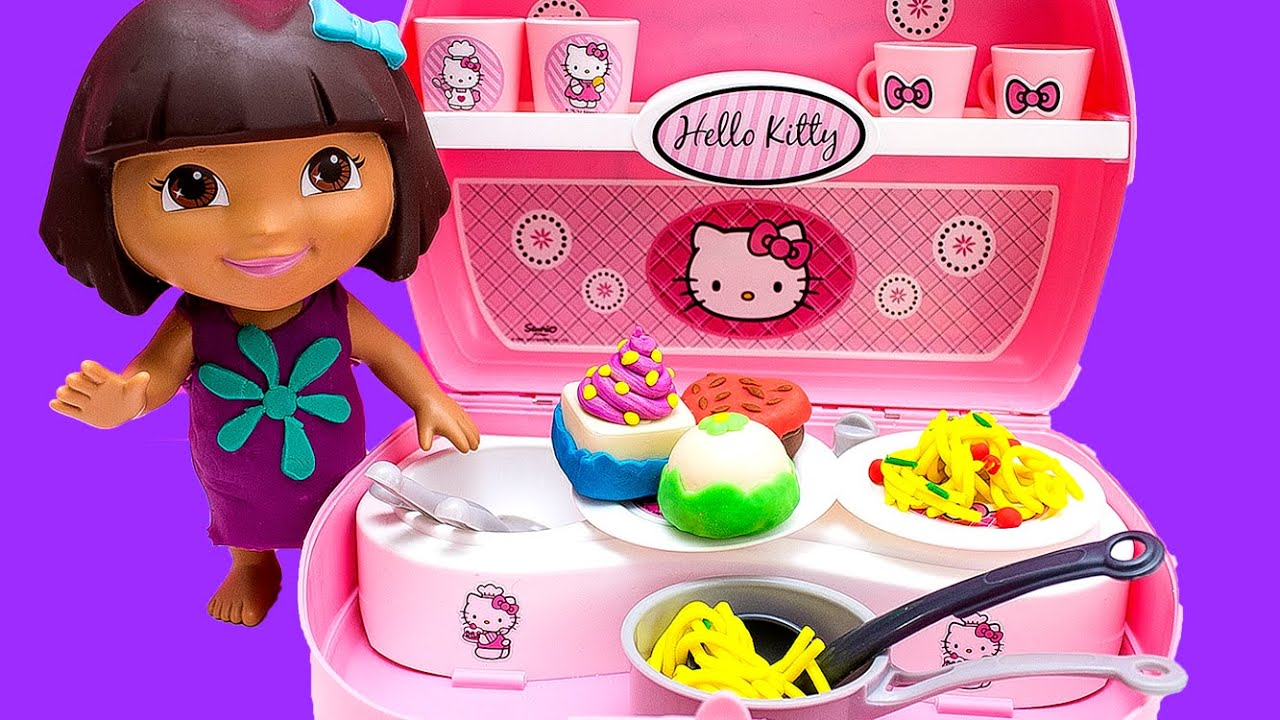 Dora The Explorer Chef Hello Kitty Mini Kitchen Play Doh Food Toy ...