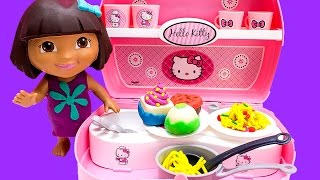 Dora The Explorer Chef Hello Kitty Mini Kitchen Play Doh Food Toy Food Dora La Exploradora Toys