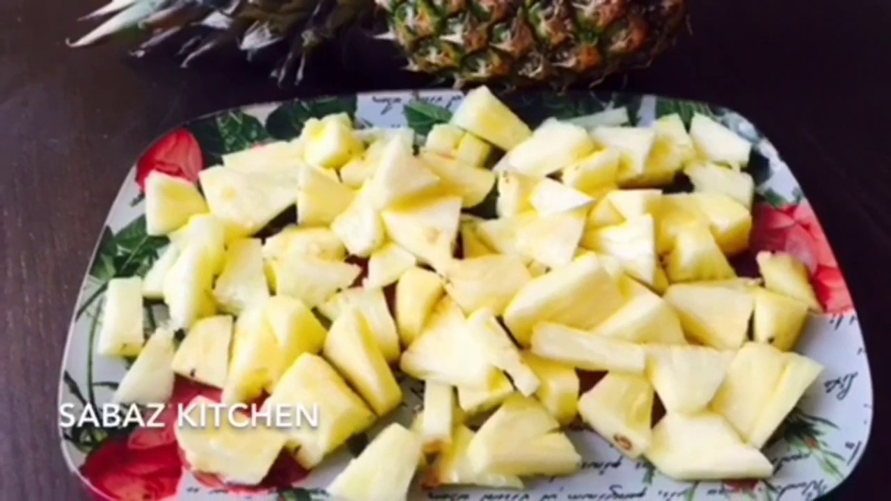 How to cut a pineapple in an easy way at home- Sabaz ...