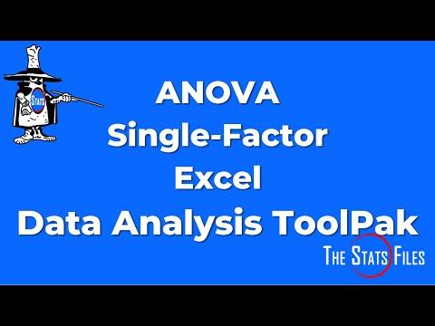 Single Factor ANOVA   Excel Data Analysis ToolPak