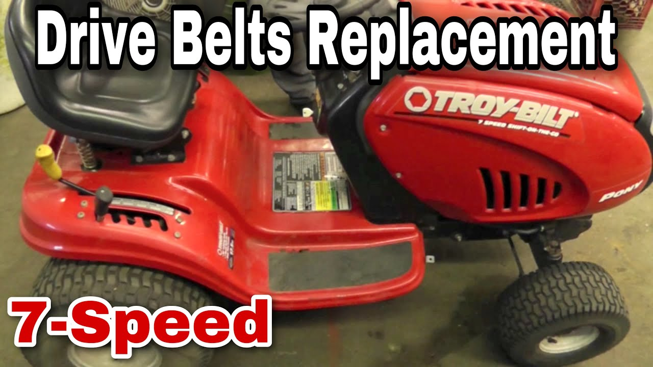 How To Replace The Drive Belts On A TroyBiltYard Machine 7Speed Riding Mower with Taryl  YouTube
