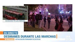 Vandalismo y disturbios durante las marchas en Bogotá