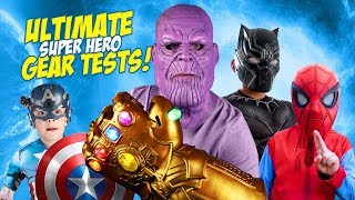 THANOS, Spider-Man & The Avengers!! Ultimate Super Hero Gear Test & Toys Review for Kids!