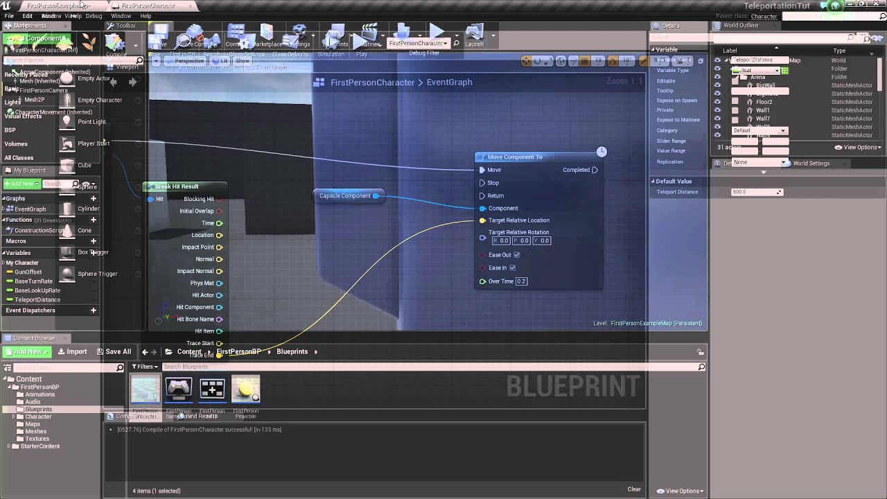 Unreal Engine 4//Teleportation Pt 1: Line Tracing and Setting Actor Location