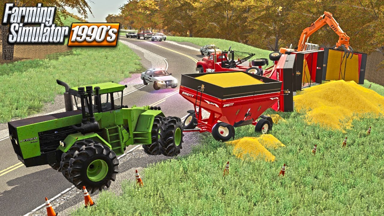 OUT OF CONTROL WAGONS (4) DUMP 2400 BUSHELS OF CORN (90s ERA ROLEPLAY) FARMING SIMULATOR 19