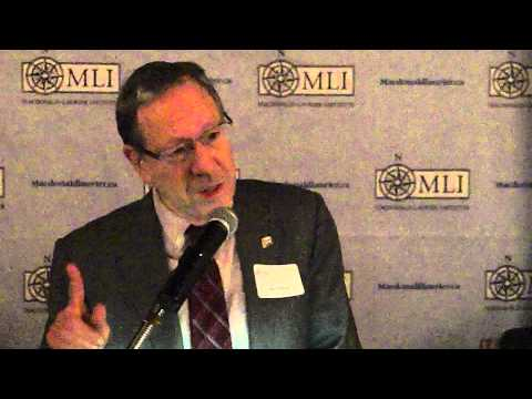 Former Justice Minister Irwin Cotler speaks at the MLI Soirée