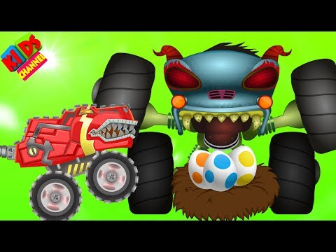 HHMT VS monster truck T-Rex in cartoon dinosaurs video episode #66 by Kids Channel