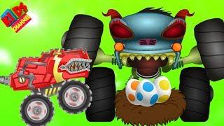 HHMT VS monster truck T Rex in cartoon dinosaurs episode #66 by Kids Channel