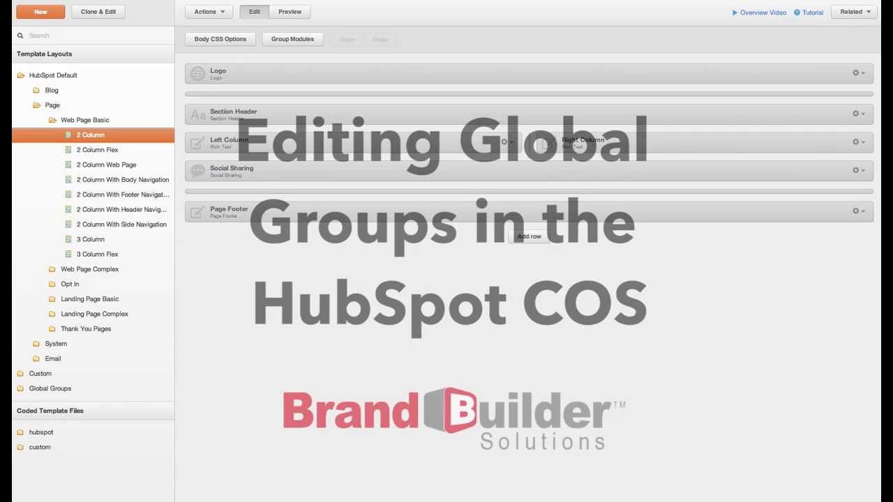 How To: Edit Global Groups with the HubSpot COS - YouTube