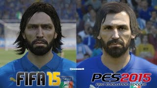 FIFA 15 vs PES 2015 ITALY (National Team) Face Comparison