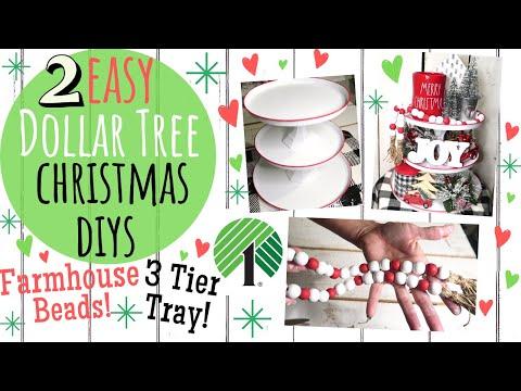 DOLLAR TREE DIY🎄FARMHOUSE CHRISTMAS DECOR 2019🎄EASY 3 TIER CHRISTMAS TRAY AND FARMHOUSE BEADS!