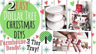 DOLLAR TREE DIY🎄FARMHOUSE CHRISTMAS DECOR 2019🎄EASY 3 TIER CHRISTMAS TRAY AND FARMHOUSE BEADS!