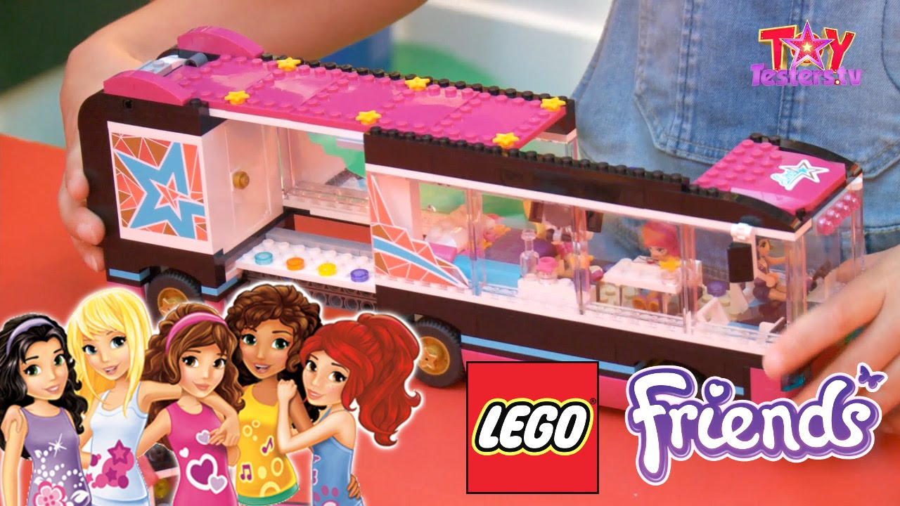 Lego Friends Pop Star Review 41106 Tour Bus 41105 Stage Youtube