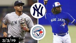 New York Yankees vs Toronto Blue Jays Highlights | March 3, 2019 | Spring Training