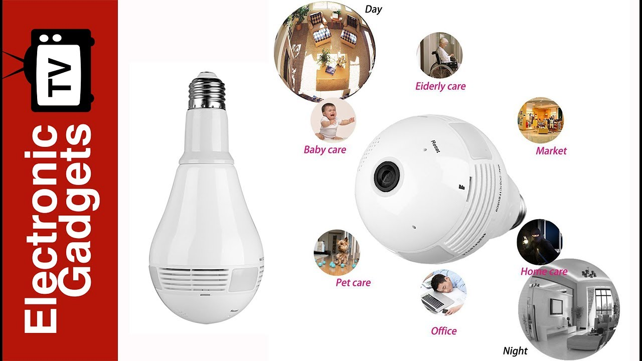 Led Light Bulb Security Camera With 360 Degree Fisheye