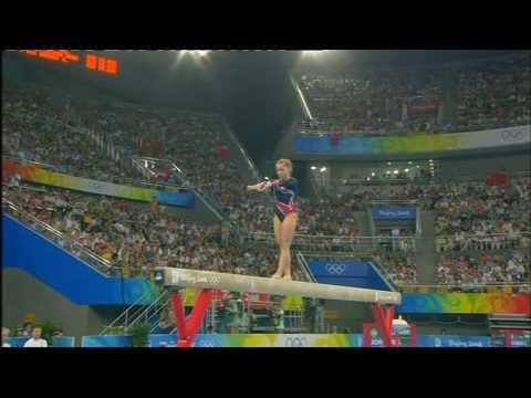 Shawn Johnson gif. 2008 Olympics All-Around Bars double layout dismount #gymnastics #silver