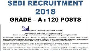 SEBI grade-A 2018 recruitment | 120 vacancies | Apply from 15th September 2018