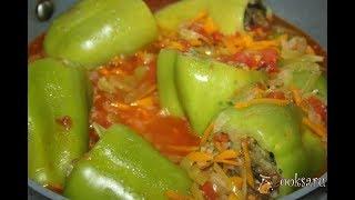 Перец, фаршированный овощами, грибами и булгуром