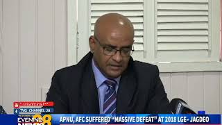 "APNU, AFC SUFFERED ""MASSIVE DEFEAT"" AT 2018 LGE– JAGDEO -11/13/2018 thumbnail"