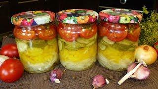 Овощной салат из огурцов, помидоров, перца и лука на зиму