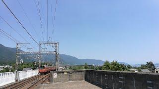 [201系環状線色が琵琶湖近くを爆走!]201系湖西線試運転 蓬莱駅通過