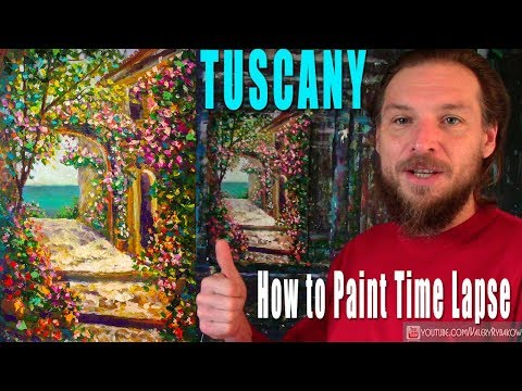 TUSCANY in flowers – How to Paint Flower Tuscany painting. Time lapse Art lesson by Rybakow