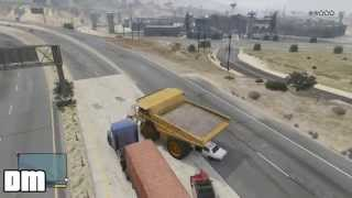 GTA V - Giant Dump Truck Location w/ Gameplay Crushing Cop Cars