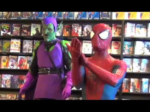 Spider-Man VS Green Goblin at Comic Book Store! Real Life Marvel Spidey Parody - Viera Comics