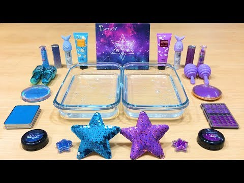 Purple vs Blue ! STAR - Mixing Makeup Eyeshadow into Clear Slime ! Satisfying Videos #498 thumbnail
