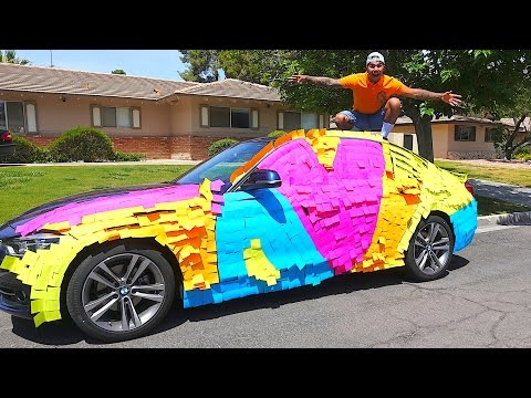 100,000 STICKY NOTE PRANK ON MY MOMS CAR!!! (BUYING MY MOM HER DREAM CAR)
