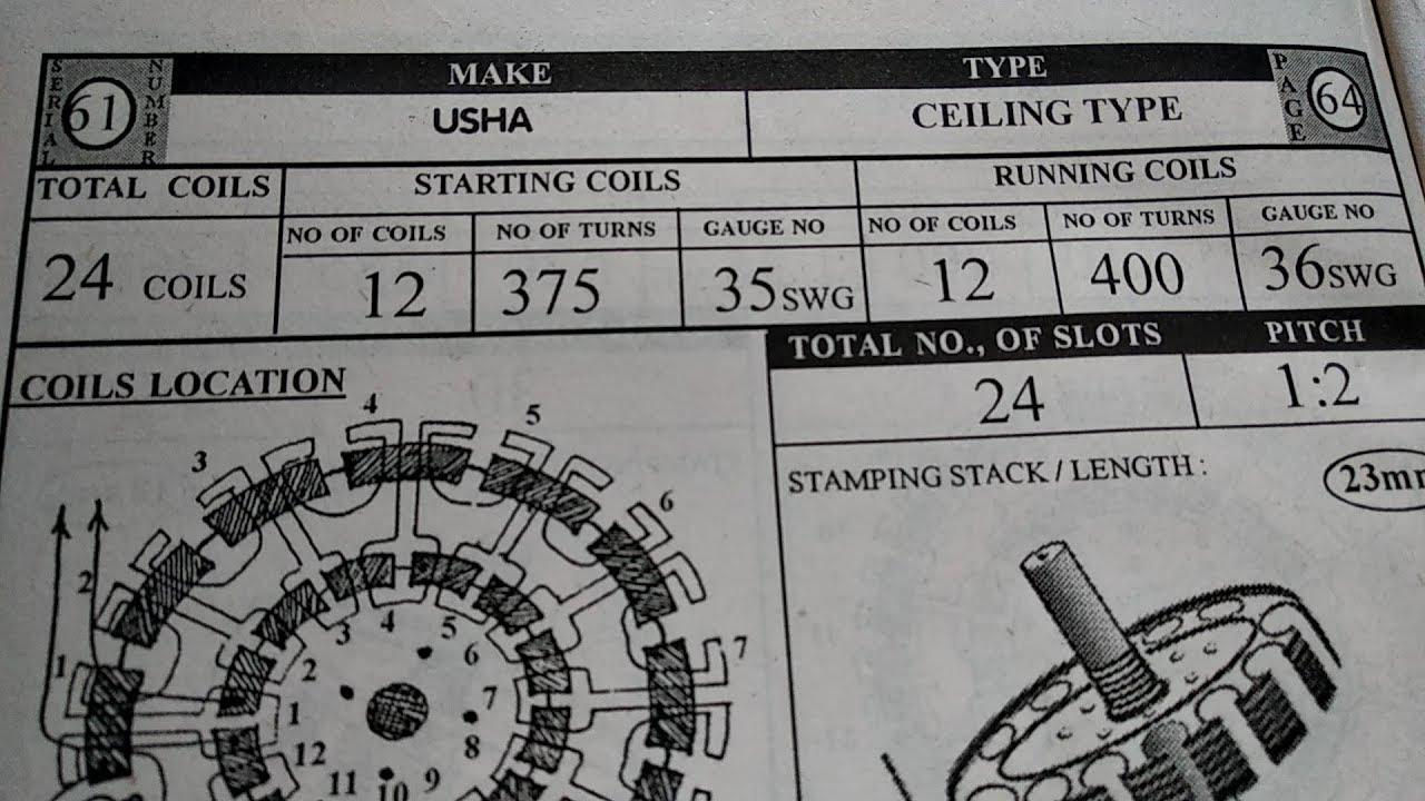 ceiling fan winding data 12 12 24 coils