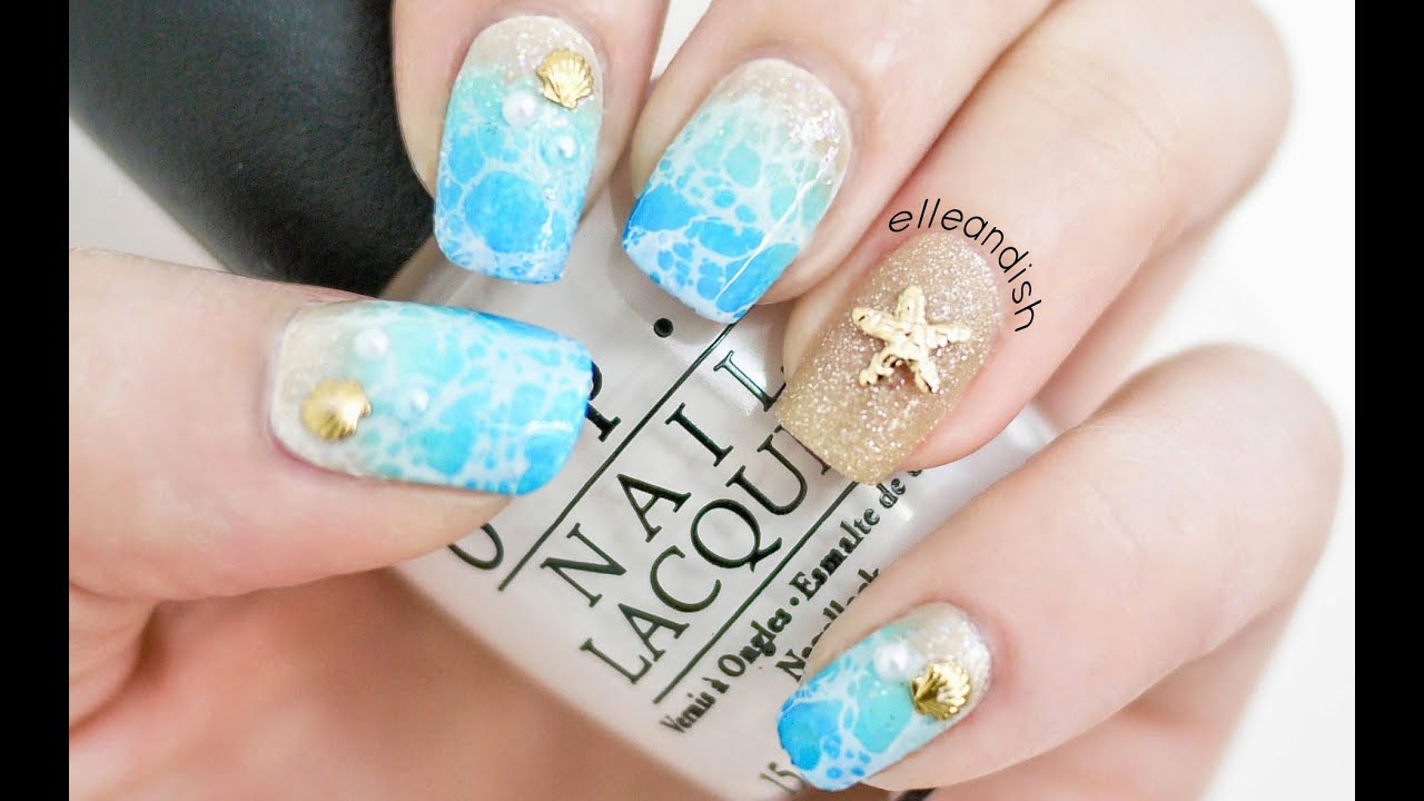 Water Spotted Beach Nails 2 Ways