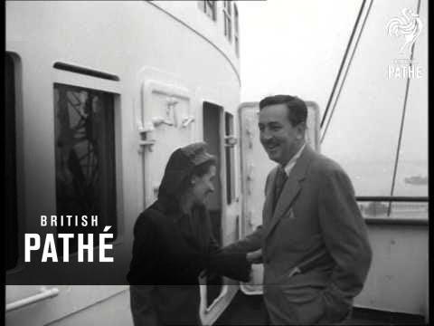 Walt Disney And Wife Arrive In England (1946)