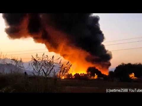 Gigantic Fire in a Waste Treatment Plant Near Turin, Italy