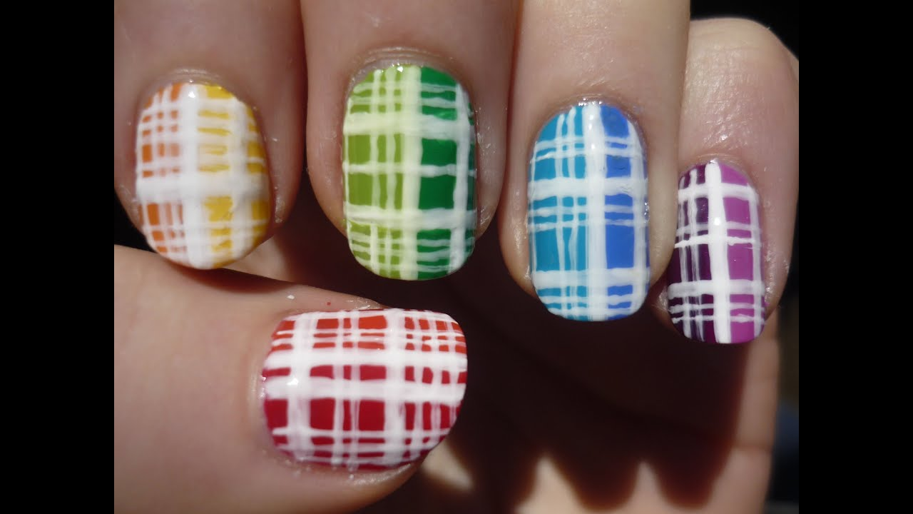 Colorful Plaid Nail Art Tutorial - YouTube