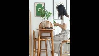 라탄 원목 아일랜드 식탁 홈카페 베란다 홈바 테이블 의…
