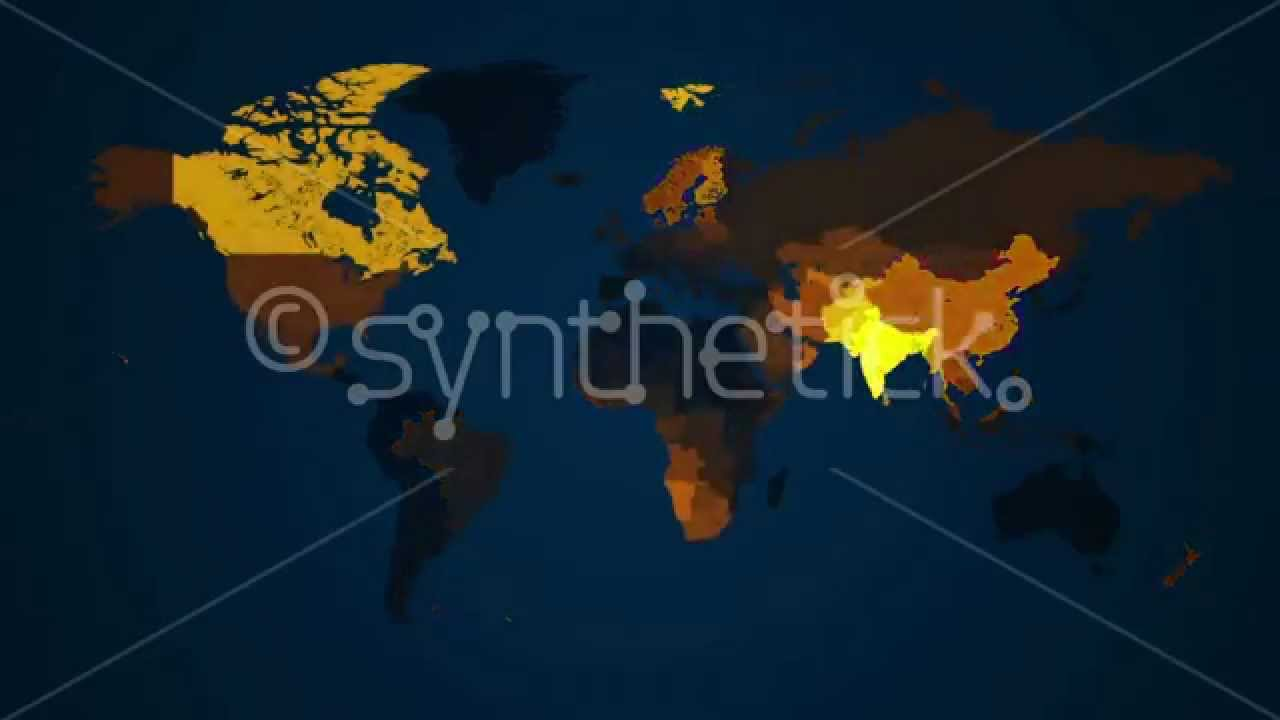 World map loop countries illuminated in yellow on dark blue world map loop countries illuminated in yellow on dark blue background gumiabroncs Choice Image