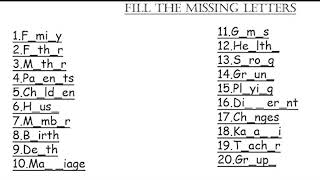 4th class Evs subject | lession 1and lession 2 | missing letters