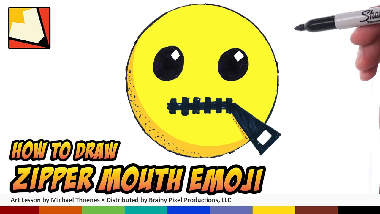 How To Draw Emojis  Zipper Mouth Emoji  Step By Step For Beginners  Bp